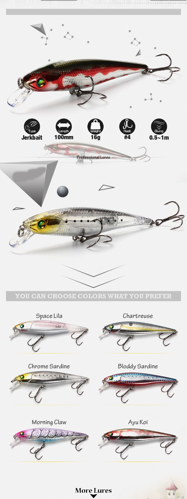 XIN-V -Xin-v Minnow Lure 100mm 16g Mnnw40 Floating Minnow Lure