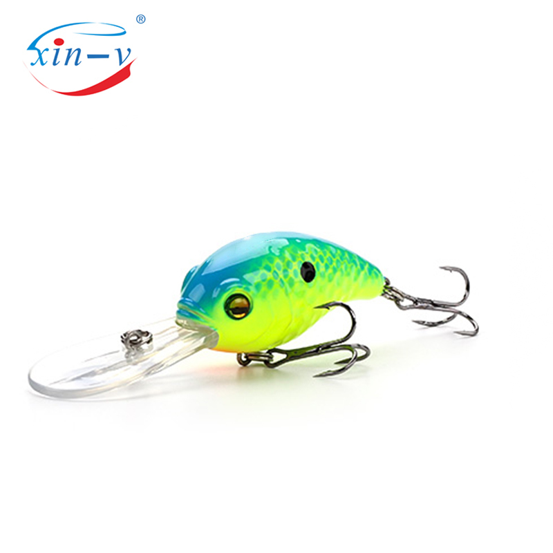 XIN-V Crankbait VC04 50mm 10g Floating Bass Fishing Lure  Rattle Sound Wobbler Round Bill Artificial Hard Bait Deep Diving Crank
