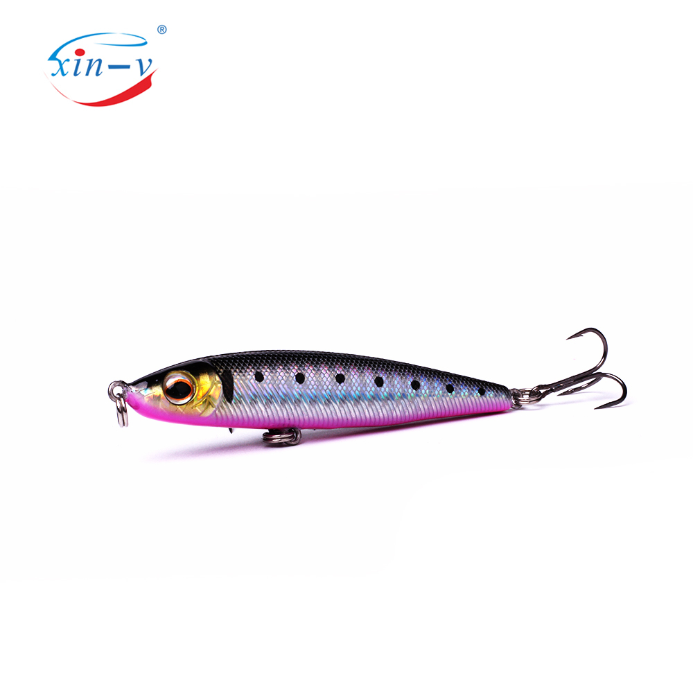 XIN-V Jerkbait VMP01 75mm 11.5g Bullet Sinking Pencil Stickbait Vibration Fishing Lure Hard Bait Sound Wobbler Jerk Baits Minnow