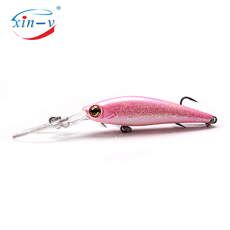 XIN-V Jerk Bait WF01 60mm 6g 3D Eyes Hard Artificial Bait 6 Colors Freshwater Bass Lake lure Deep Diving Jerkbait Minnow Factory