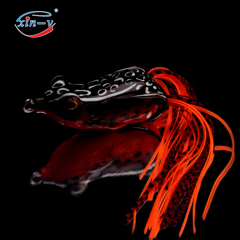 XIN-V Soft Lure Frog Free Sample 60mm 15g Artificial 3D Eyes Frog Soft Fishing Lure With Sharp Hook Fishing Lure Wholesale