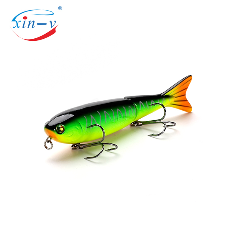 XIN-V Swimbait ATJ01 127mm 21g Nexus Voodoo ATJ01 Swimbait Two Section Multi Jointed Top Water Walk Dog Stick Bait Floating Penc