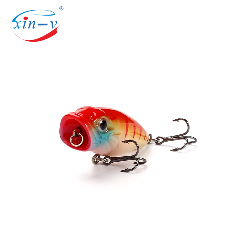 XIN-V Topwater Popper CP 45mm 3.5g Top Water Fishing Lure Bait Hard Artificial Bait Mini Popper for Small Mouth Bass Trout Blueg