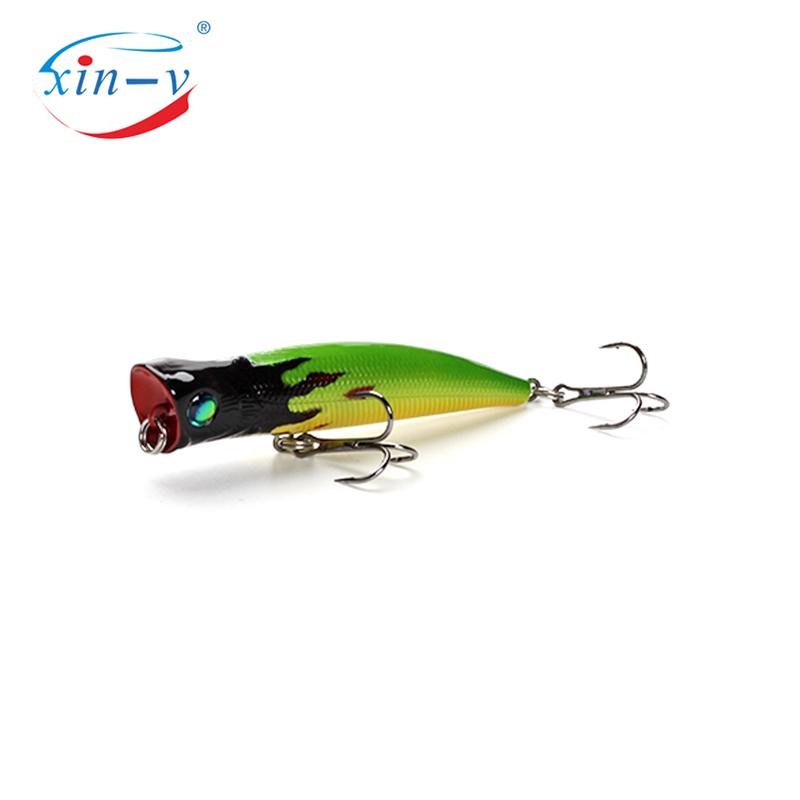 XIN-V 80mm 8g Bubble Burst Fishing Lure VP02 Rattle Sound Wobbler Artificial Hard Bait 6 Colors Freshwater Bass Popper