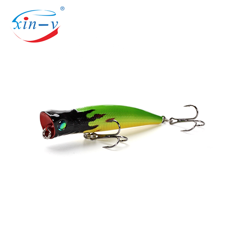 XIN-V 80mm 8g Bubble Burst Fishing Lure VP02 Rattle Sound Wobbler Artificial Hard Bait 6 Colors Freshwater Bass Popper